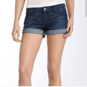 7 For All ManKind Roll Hem Blue Shorts Size 28